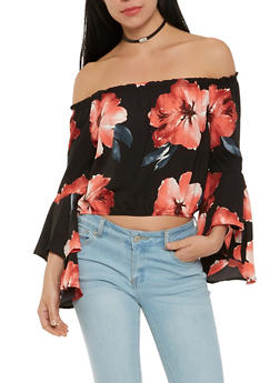 Off the Shoulder Bell Sleeve Top - 1401069398711