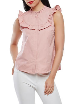 Ruffle Detail Button Front Top - 1401069398782