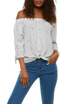 Striped Floral Off the Shoulder Top - 1401069398834