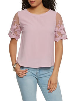 Embroidered Mesh Sleeve Top - 1401069398880