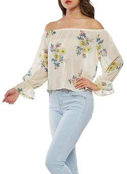 Floral Off the Shoulder Chiffon Top - 1401069398955