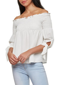 Smocked Off the Shoulder Top - 1401069399011