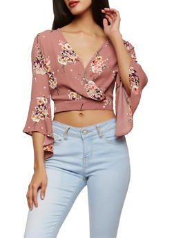Floral Faux Wrap Crop Top - 1401069399085