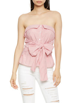 Strapless Striped Button Front Top - 1401069399172