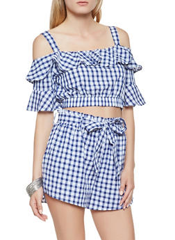 Ruffled Off the Shoulder Printed Crop Top - 1401069399174