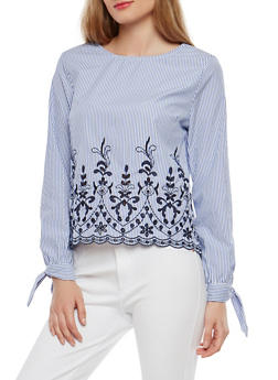 Striped Tie Sleeve Top with Embroidered Hem - 1401069399256