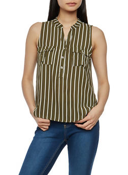 Striped Sleeveless Henley Top - 1401069399363