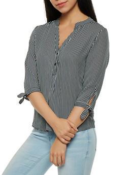 Striped Button Detail Blouse - 1401069399365