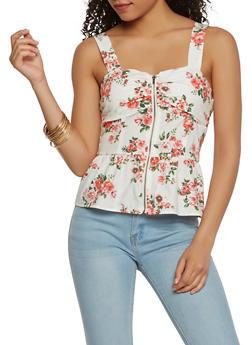 Floral Zip Front Peplum Top - 1401069399378