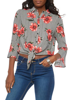 Striped Floral Tie Front Button Down Top - 1401069399467