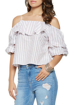 Striped Off the Shoulder Top - 1401069399608
