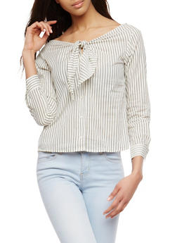 Tie Neck Off the Shoulder Top - 1401069399616