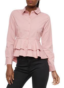Tiered Peplum Button Front Shirt - 1401069399623