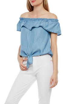 Tie Front Off the Shoulder Top - 1401069399651