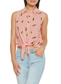 Striped Pineapple Print Tie Front Top - 1401069399654