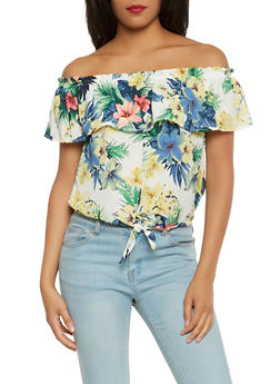 Floral Off the Shoulder Tie Front Top - 1401069399666
