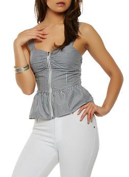 Striped Zip Front Peplum Top - 1401069399678