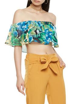 Floral Overlay Off the Shoulder Bandeau - 1401069399684