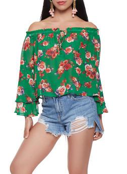 Floral Bell Sleeve Off the Shoulder Top - 1401069399691