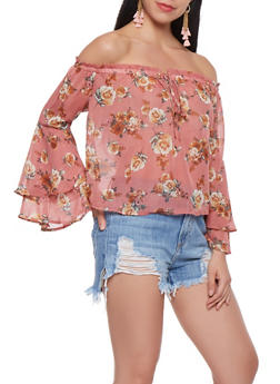 Floral Bell Sleeve Off the Shoulder Top - 1401069399691