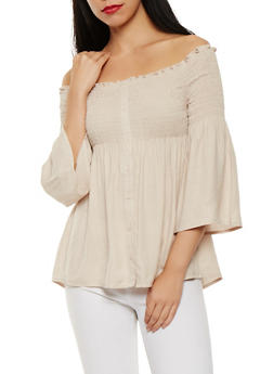 Smocked Linen Off the Shoulder Top - 1401069399715