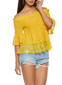 Lace Trim Off the Shoulder Top - 1401069399742