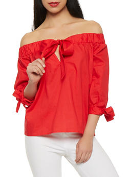 Off the Shoulder Tie Front Top - 1401069399768
