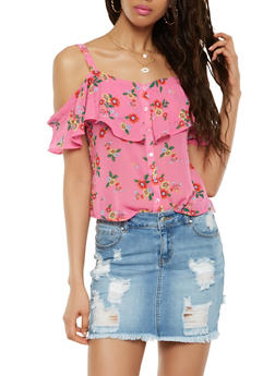 Floral Button Front Off the Shoulder Top - 1401069399780