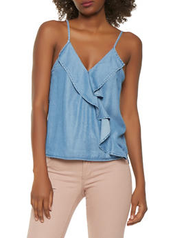 Faux Wrap Chambray Tank Top - 1401069399803