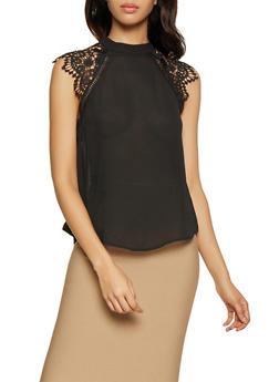 Crochet Cap Sleeve Blouse - 1401069399854