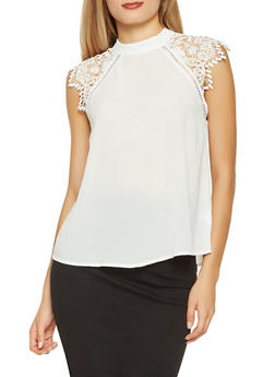 Crochet Cap Sleeve Blouse - 1401069399854