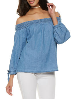 Chambray Off the Shoulder Top - 1401069399876