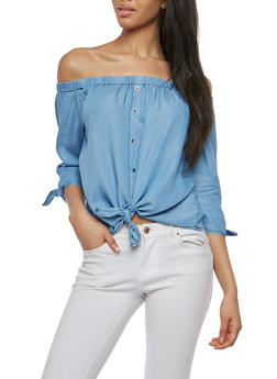 Chambray Off the Shoulder Tie Front Top - 1401069399877