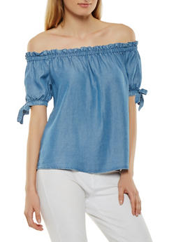 Chambray Off the Shoulder Top - 1401069399878