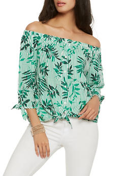 Printed Off the Shoulder Top - 1401069399883