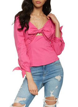 Bow Tie Front Peasant Top - 1401069399901