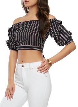Striped Off the Shoulder Crop Top - 1401069399963