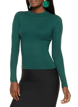 Ribbed High Neck Top - 1402054210978