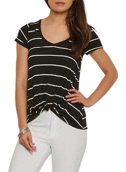 Striped Twist Front Tee - 1402054211348