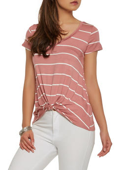 Striped Twist Front Tee - 1402054211348