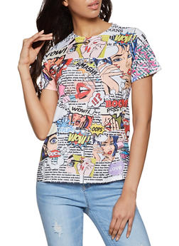 Pop Art Graphic Soft Knit Tee - 1402061350133