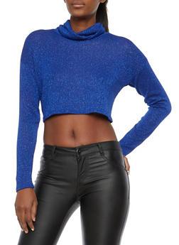 Glitter Knit Cropped Turtleneck Sweater - 1402061350656