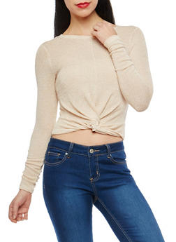 Glitter Knit Knot Front Cropped Sweater - 1402061351009