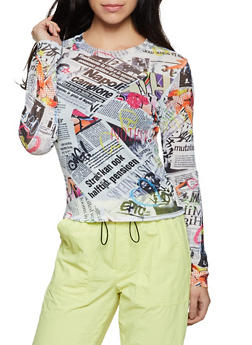 Newspaper Print Mesh Top - 1402061351154