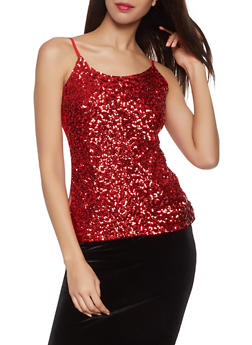 Sequined Mesh Cami - 1402061351700