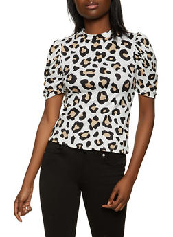 Ruched Sleeve Leopard Top - 1402061352240