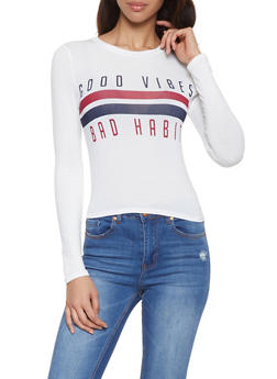 Good Vibes Bad Habits Graphic Tee - 1402061352537