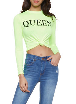 Neon Queen Knot Front Tee - 1402061352973