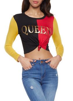 Queen Color Block Cropped Tee - 1402061353073