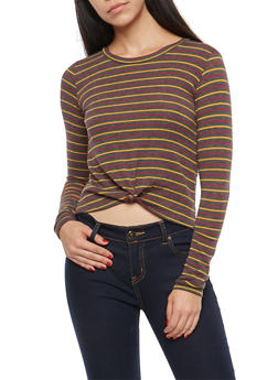 Striped Knot Front Top - 1402061354158